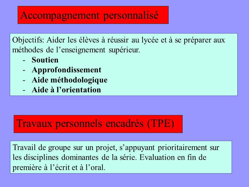 Accompagnement personnalisé Travaux personnels encadrés (TPE) Objectifs: Aider les élèves à réussir au lycée et à se préparer aux méthodes de lenseign