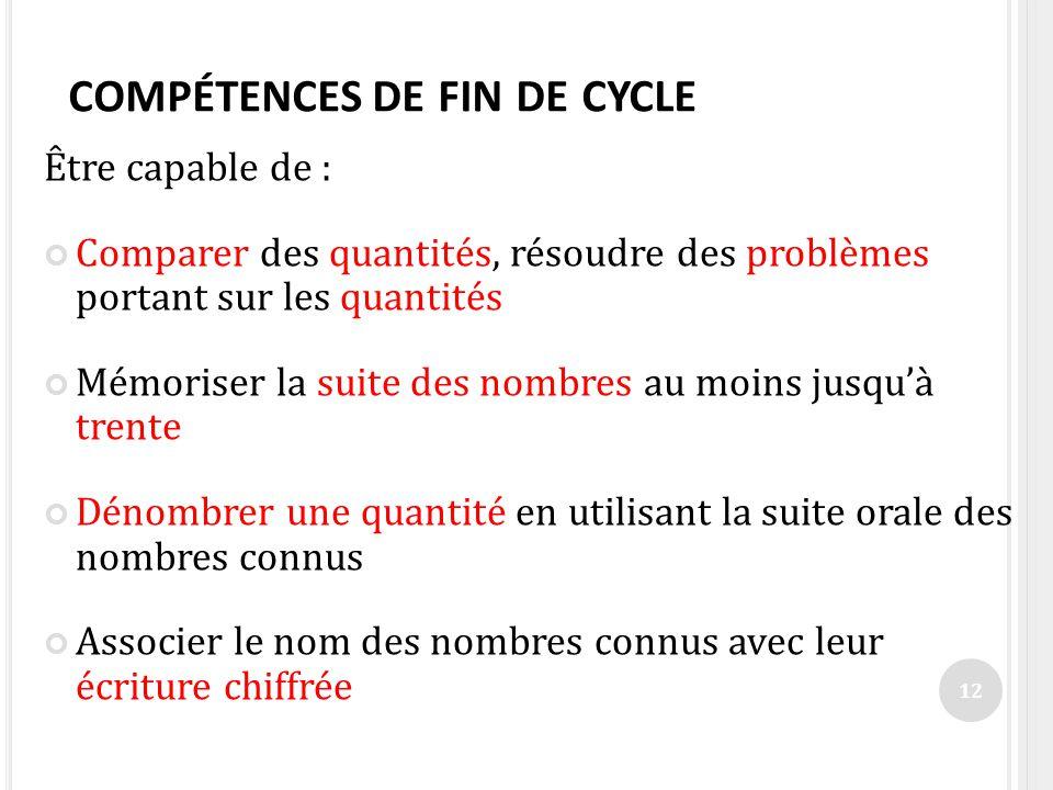COMPÉTENCES DE FIN DE CYCLE Être capable de : Comparer des quantités, résoudre des problèmes portant sur les quantités Mémoriser la suite des nombres