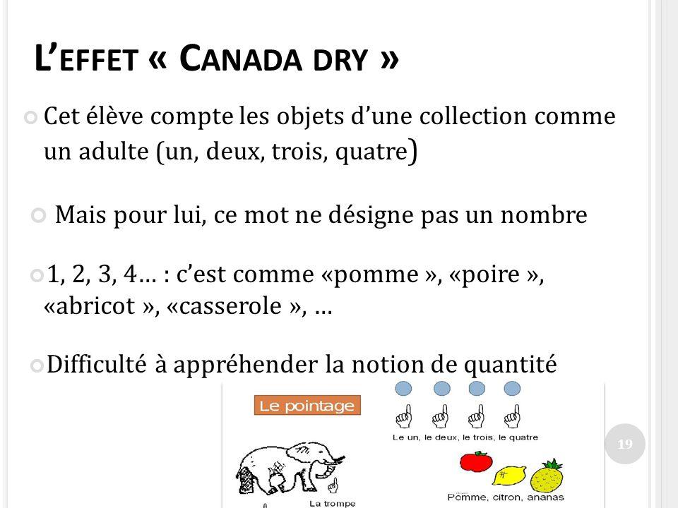 L EFFET « C ANADA DRY » Cet élève compte les objets dune collection comme un adulte (un, deux, trois, quatre ) Mais pour lui, ce mot ne désigne pas un