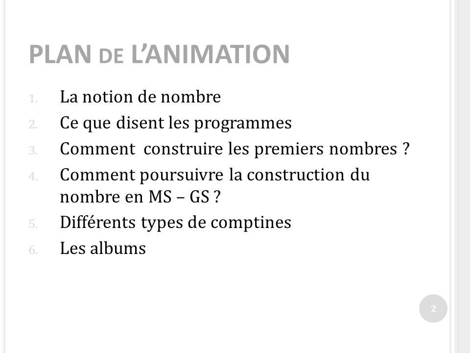 PLAN DE LANIMATION 1. La notion de nombre 2. Ce que disent les programmes 3. Comment construire les premiers nombres ? 4. Comment poursuivre la constr
