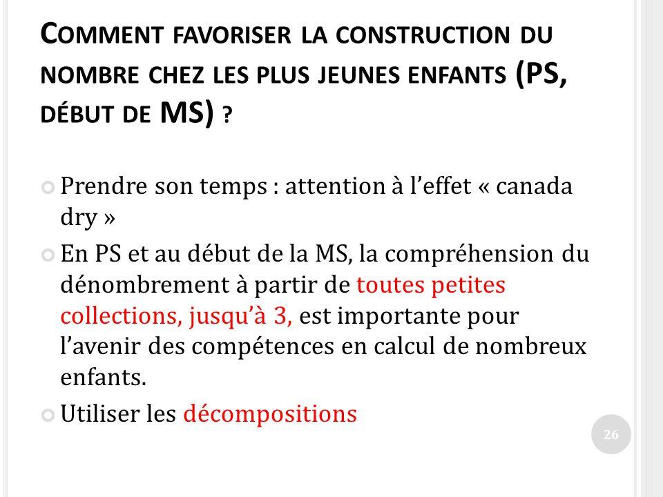C OMMENT FAVORISER LA CONSTRUCTION DU NOMBRE CHEZ LES PLUS JEUNES ENFANTS (PS, DÉBUT DE MS) ? Prendre son temps : attention à leffet « canada dry » En