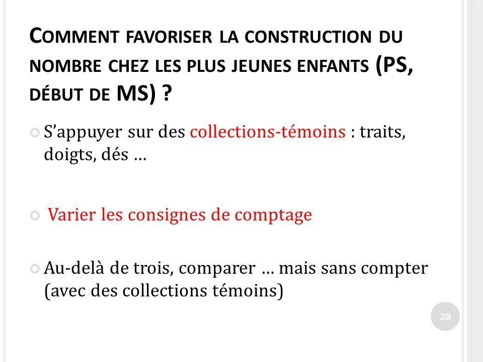 C OMMENT FAVORISER LA CONSTRUCTION DU NOMBRE CHEZ LES PLUS JEUNES ENFANTS (PS, DÉBUT DE MS) ? Sappuyer sur des collections-témoins : traits, doigts, d