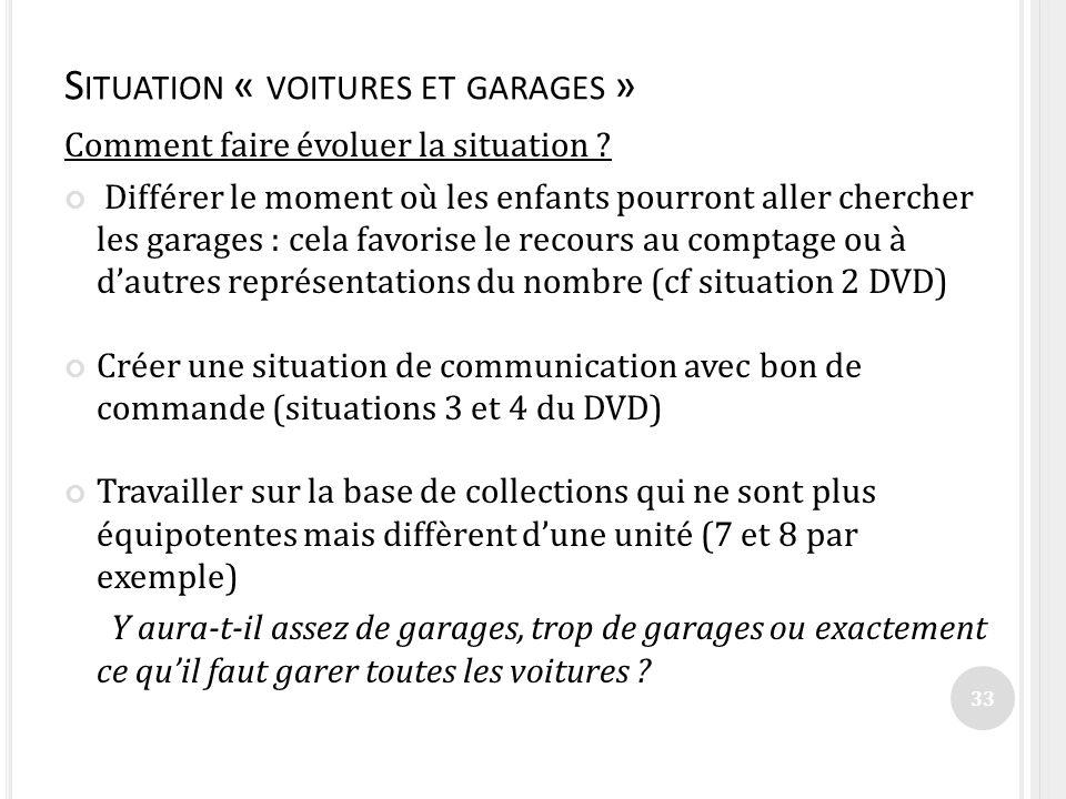 S ITUATION « VOITURES ET GARAGES » Comment faire évoluer la situation ? Différer le moment où les enfants pourront aller chercher les garages : cela f