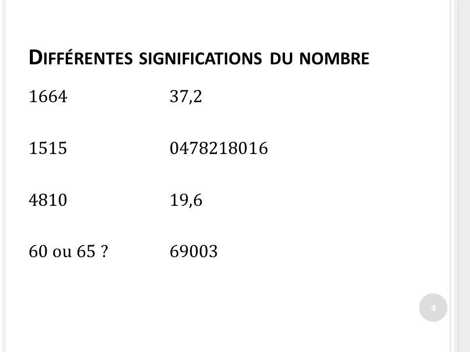 D IFFÉRENTES SIGNIFICATIONS DU NOMBRE 166437,2 15150478218016 481019,6 60 ou 65 ?69003 4