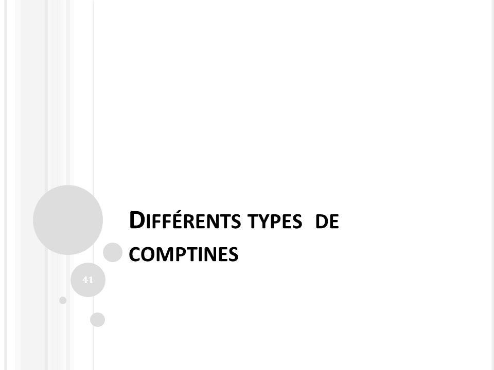 D IFFÉRENTS TYPES DE COMPTINES 41