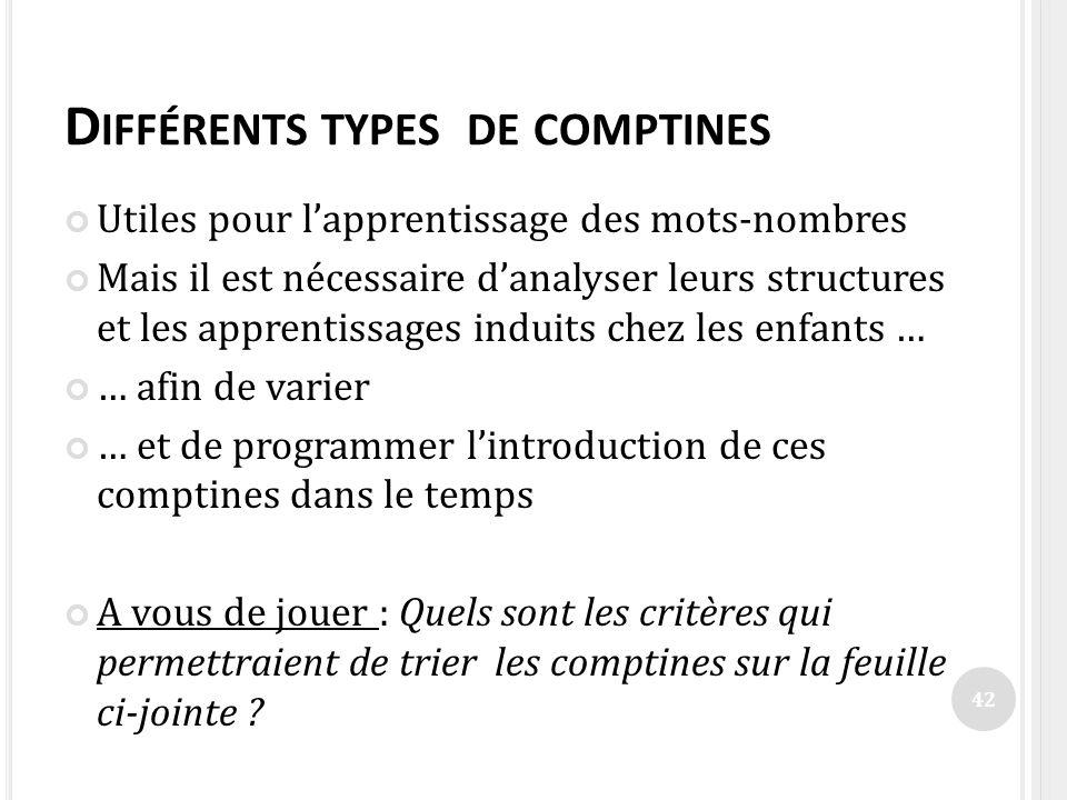 D IFFÉRENTS TYPES DE COMPTINES Utiles pour lapprentissage des mots-nombres Mais il est nécessaire danalyser leurs structures et les apprentissages ind