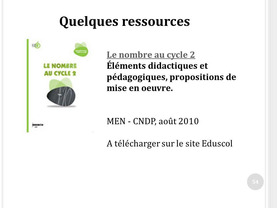 54 Quelques ressources Le nombre au cycle 2 Le nombre au cycle 2 Éléments didactiques et pédagogiques, propositions de mise en oeuvre. MEN - CNDP, aoû