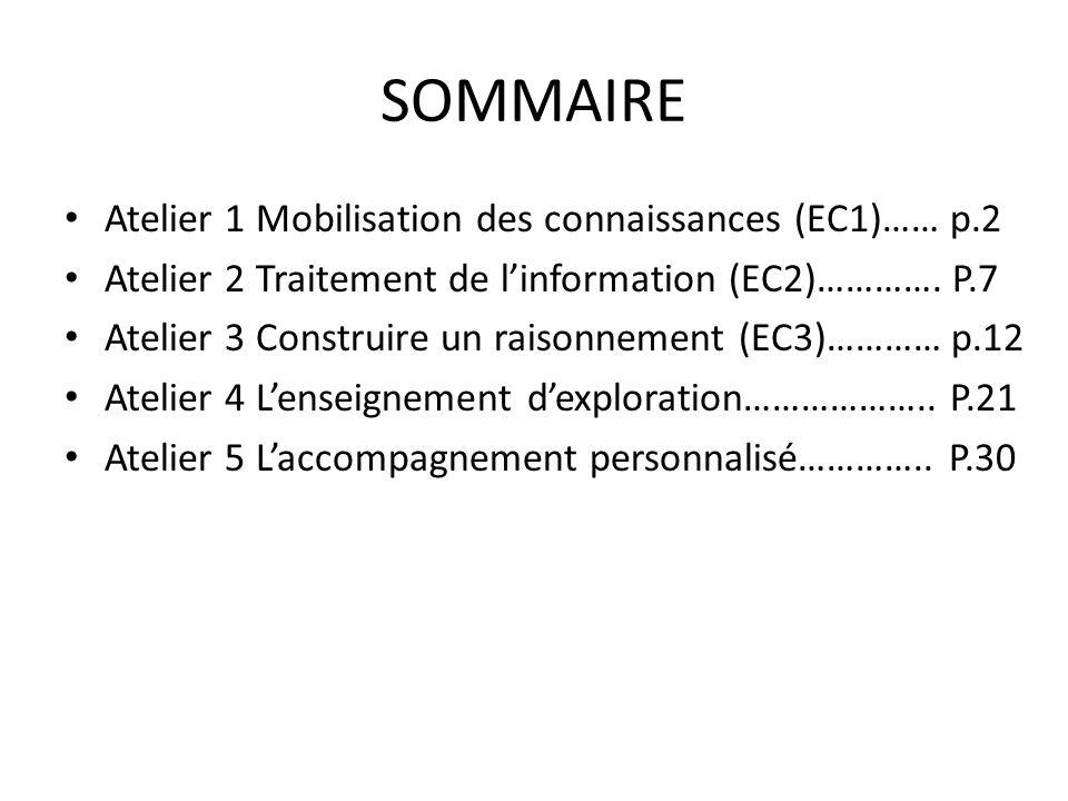 SOMMAIRE Atelier 1 Mobilisation des connaissances (EC1)…… p.2 Atelier 2 Traitement de linformation (EC2)…………. P.7 Atelier 3 Construire un raisonnement