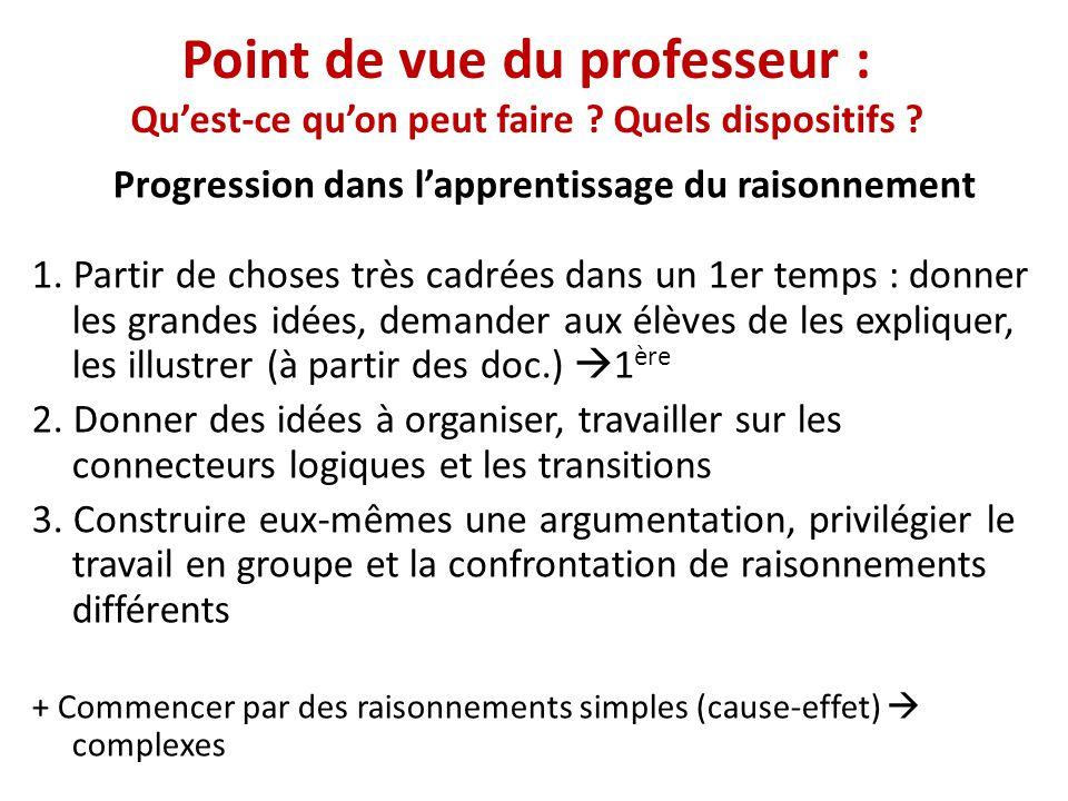Point de vue du professeur : Quest-ce quon peut faire ? Quels dispositifs ? Progression dans lapprentissage du raisonnement 1. Partir de choses très c