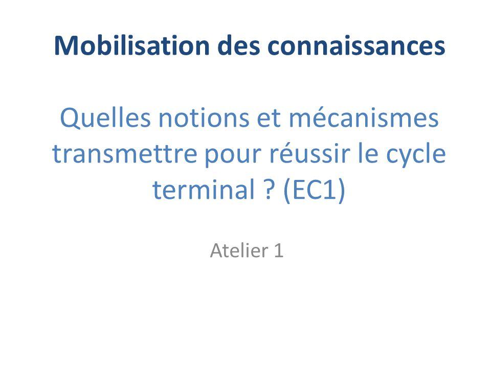 Mobilisation des connaissances Quelles notions et mécanismes transmettre pour réussir le cycle terminal ? (EC1) Atelier 1