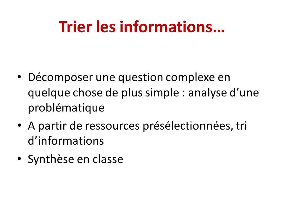 Trier les informations… Décomposer une question complexe en quelque chose de plus simple : analyse dune problématique A partir de ressources présélect
