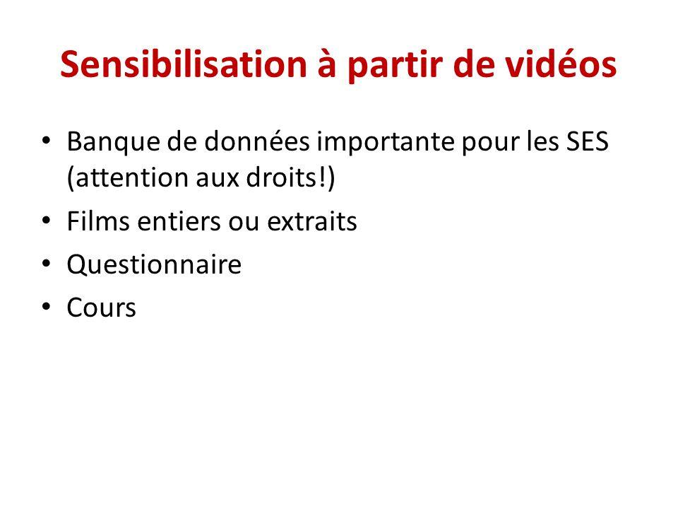 Sensibilisation à partir de vidéos Banque de données importante pour les SES (attention aux droits!) Films entiers ou extraits Questionnaire Cours