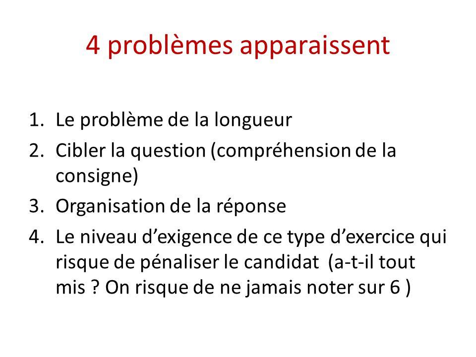 4 problèmes apparaissent 1.Le problème de la longueur 2.Cibler la question (compréhension de la consigne) 3.Organisation de la réponse 4.Le niveau dex