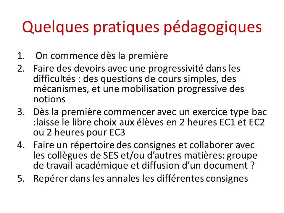 Quelques pratiques pédagogiques 1. On commence dès la première 2.Faire des devoirs avec une progressivité dans les difficultés : des questions de cour