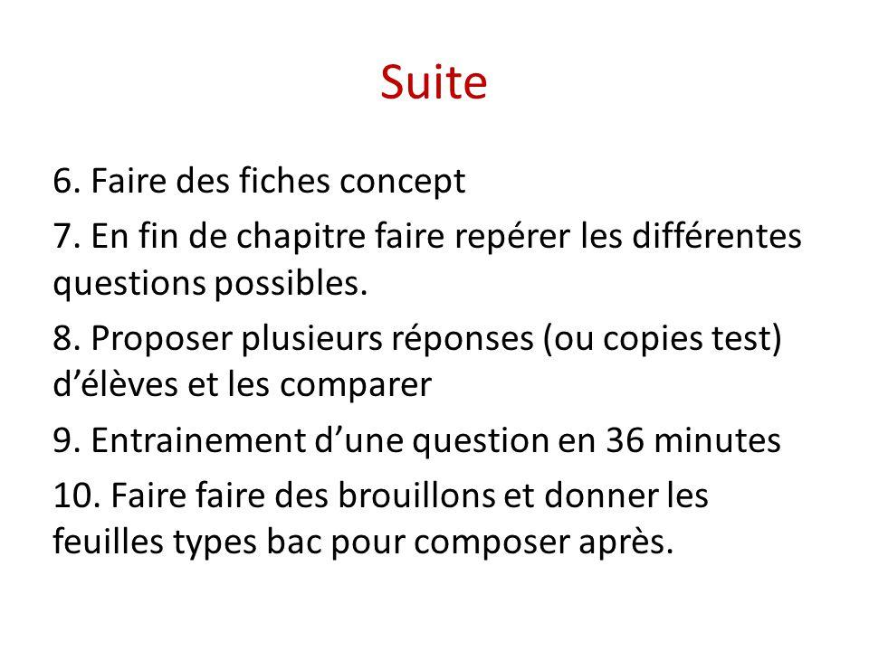 Suite 6. Faire des fiches concept 7. En fin de chapitre faire repérer les différentes questions possibles. 8. Proposer plusieurs réponses (ou copies t