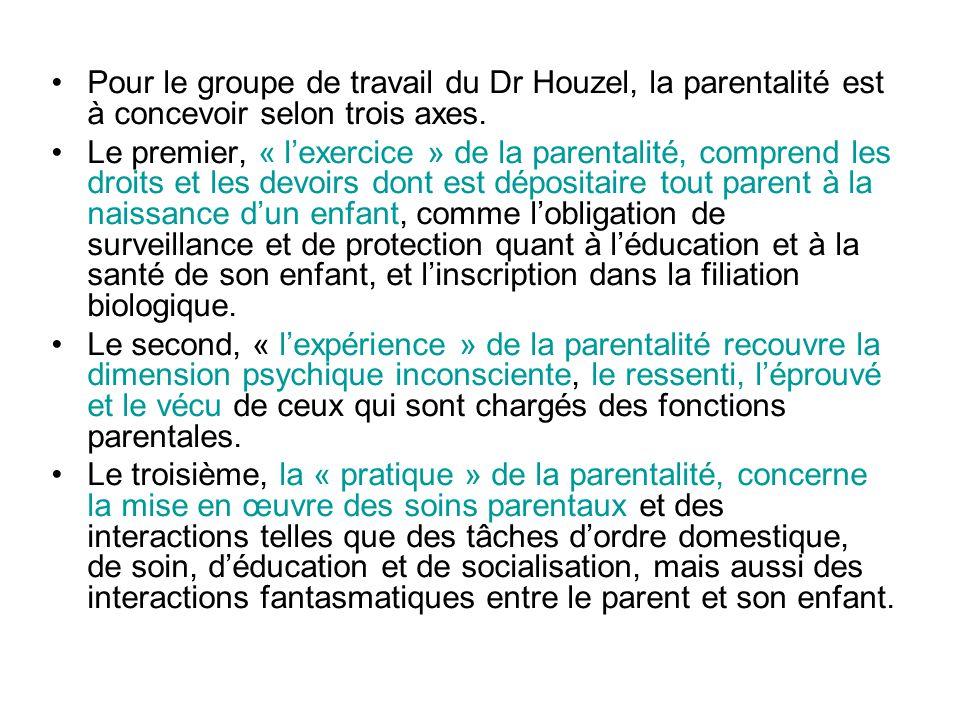 Pour le groupe de travail du Dr Houzel, la parentalité est à concevoir selon trois axes. Le premier, « lexercice » de la parentalité, comprend les dro