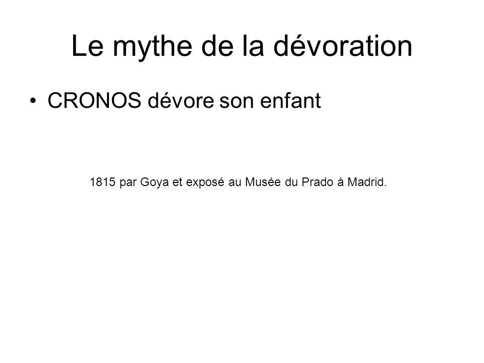 Le mythe de la dévoration CRONOS dévore son enfant 1815 par Goya et exposé au Musée du Prado à Madrid.