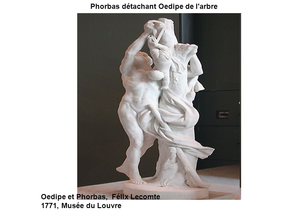 Phorbas détachant Oedipe de l'arbre Oedipe et Phorbas, Félix Lecomte 1771, Musée du Louvre