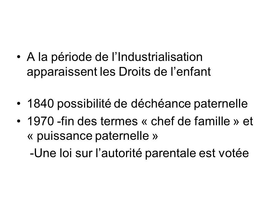 A la période de lIndustrialisation apparaissent les Droits de lenfant 1840 possibilité de déchéance paternelle 1970 -fin des termes « chef de famille » et « puissance paternelle » -Une loi sur lautorité parentale est votée