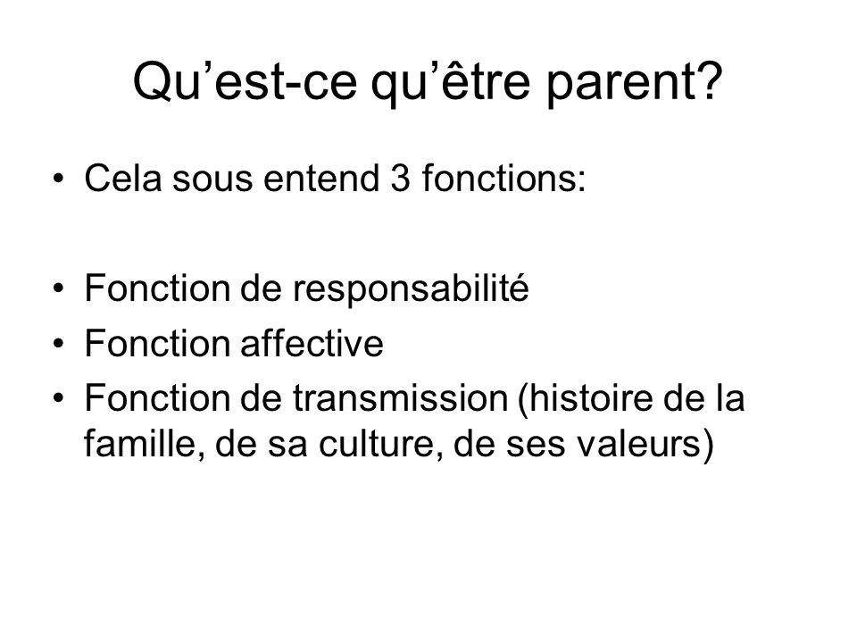 Quest-ce quêtre parent? Cela sous entend 3 fonctions: Fonction de responsabilité Fonction affective Fonction de transmission (histoire de la famille,