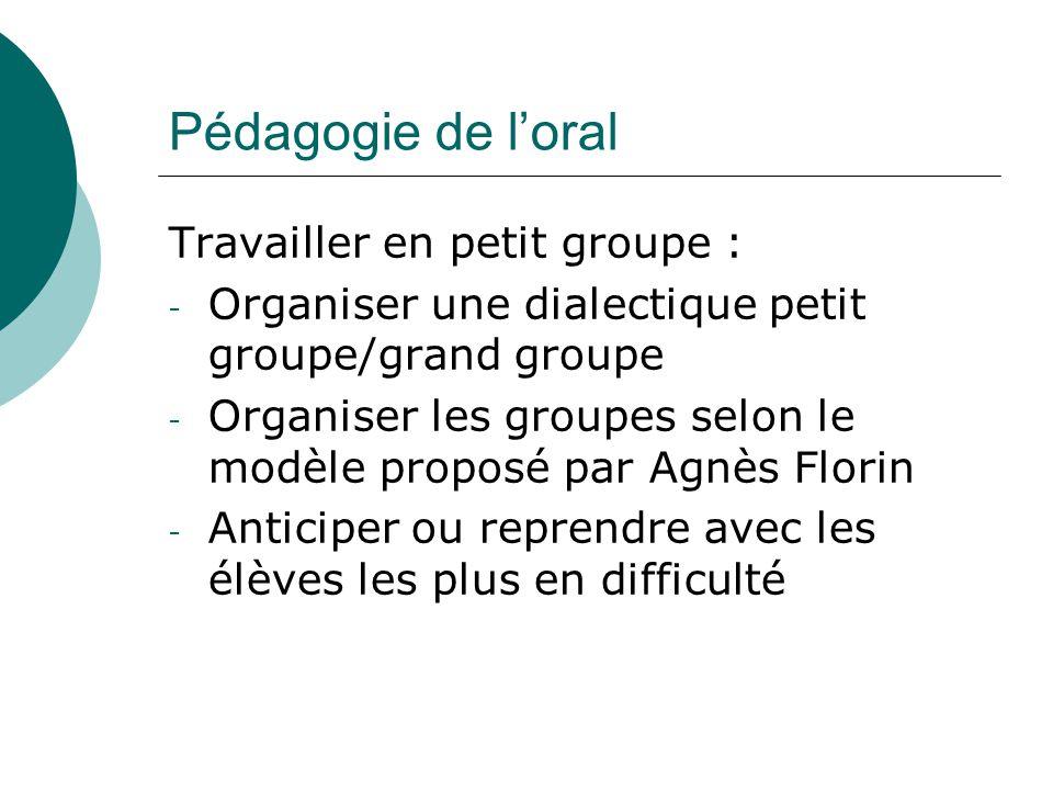 Pédagogie de loral Travailler en petit groupe : - Organiser une dialectique petit groupe/grand groupe - Organiser les groupes selon le modèle proposé
