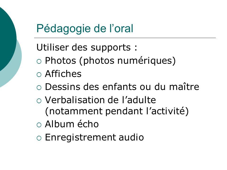 Pédagogie de loral Utiliser des supports : Photos (photos numériques) Affiches Dessins des enfants ou du maître Verbalisation de ladulte (notamment pe