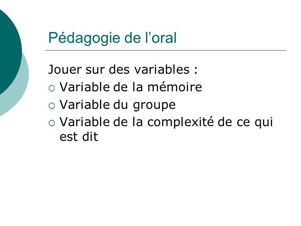 Pédagogie de loral Jouer sur des variables : Variable de la mémoire Variable du groupe Variable de la complexité de ce qui est dit