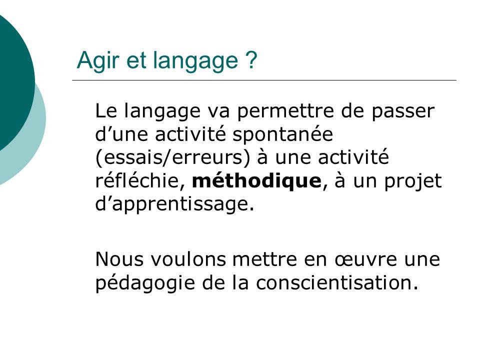 Agir et langage ? Le langage va permettre de passer dune activité spontanée (essais/erreurs) à une activité réfléchie, méthodique, à un projet dappren