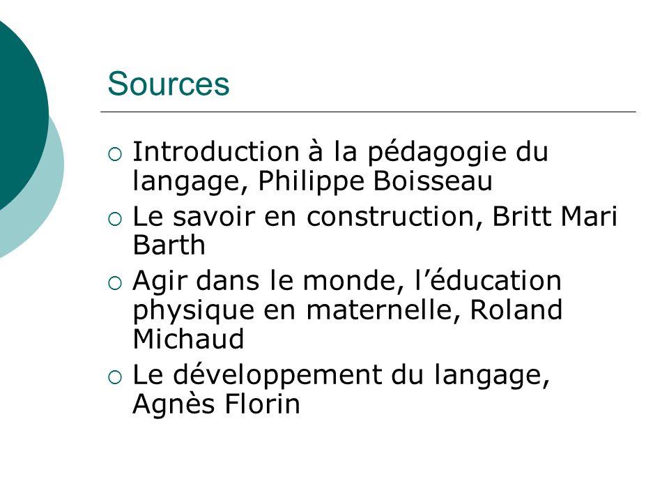 Sources Introduction à la pédagogie du langage, Philippe Boisseau Le savoir en construction, Britt Mari Barth Agir dans le monde, léducation physique