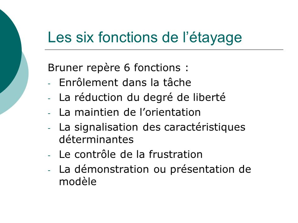 Les six fonctions de létayage Bruner repère 6 fonctions : - Enrôlement dans la tâche - La réduction du degré de liberté - La maintien de lorientation