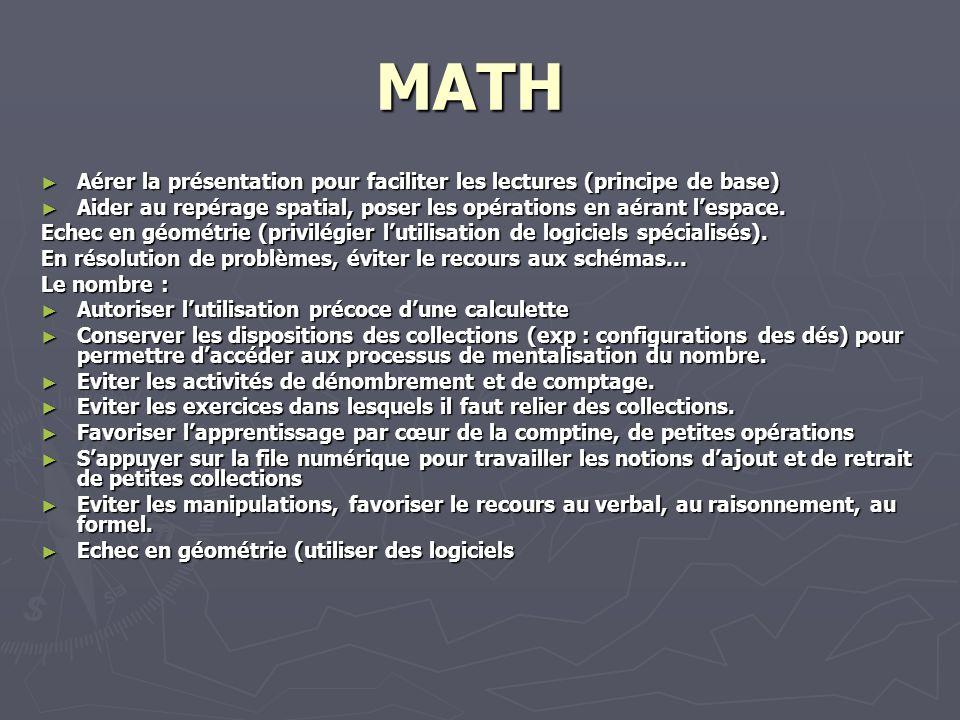 MATH Aérer la présentation pour faciliter les lectures (principe de base) Aérer la présentation pour faciliter les lectures (principe de base) Aider a