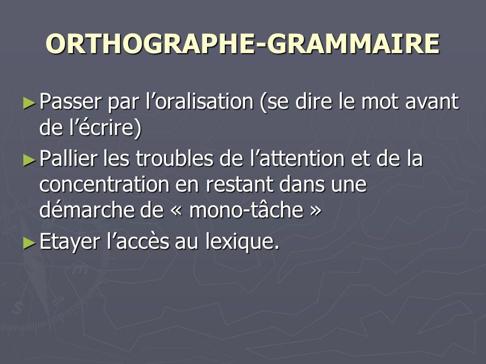 ORTHOGRAPHE-GRAMMAIRE Passer par loralisation (se dire le mot avant de lécrire) Passer par loralisation (se dire le mot avant de lécrire) Pallier les