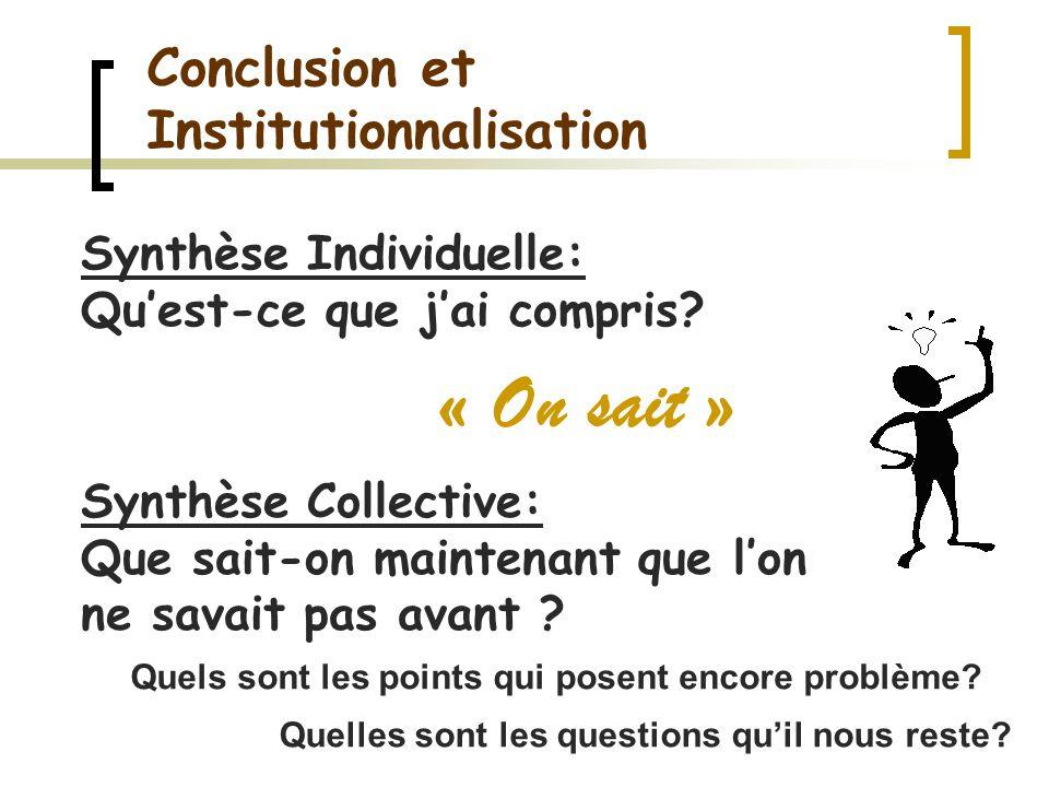 Conclusion et Institutionnalisation « On sait » Synthèse Collective: Que sait-on maintenant que lon ne savait pas avant ? Synthèse Individuelle: Quest