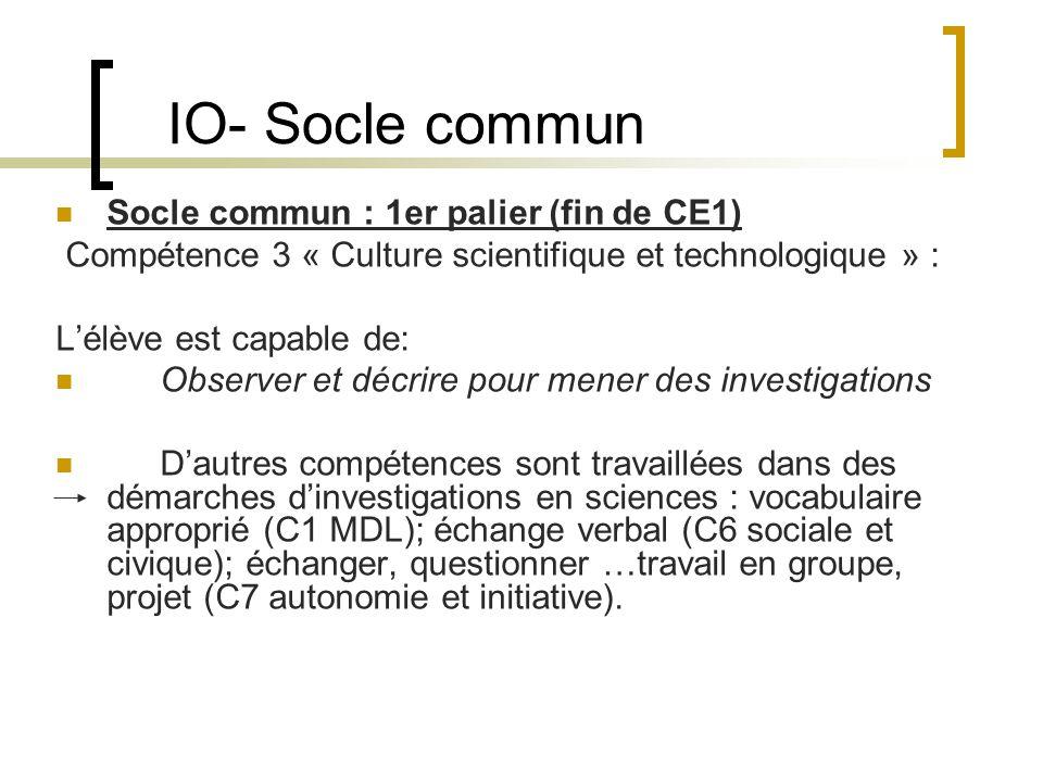IO- Socle commun Socle commun : 1er palier (fin de CE1) Compétence 3 « Culture scientifique et technologique » : Lélève est capable de: Observer et dé