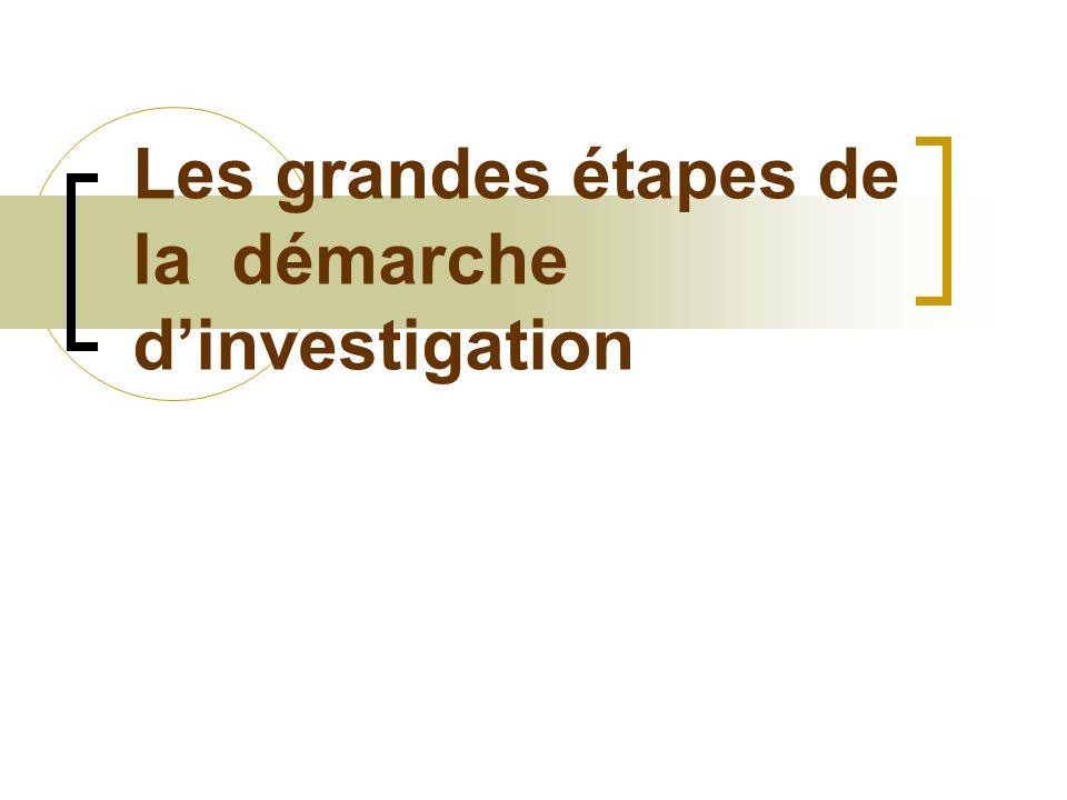 Les grandes étapes de la démarche dinvestigation