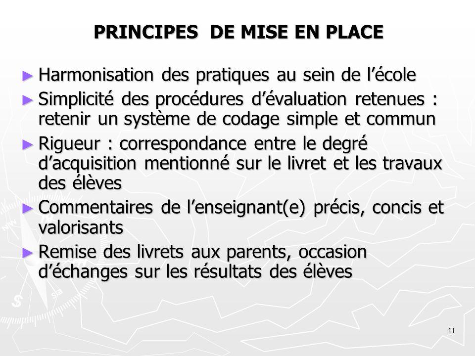 11 PRINCIPES DE MISE EN PLACE Harmonisation des pratiques au sein de lécole Harmonisation des pratiques au sein de lécole Simplicité des procédures dé