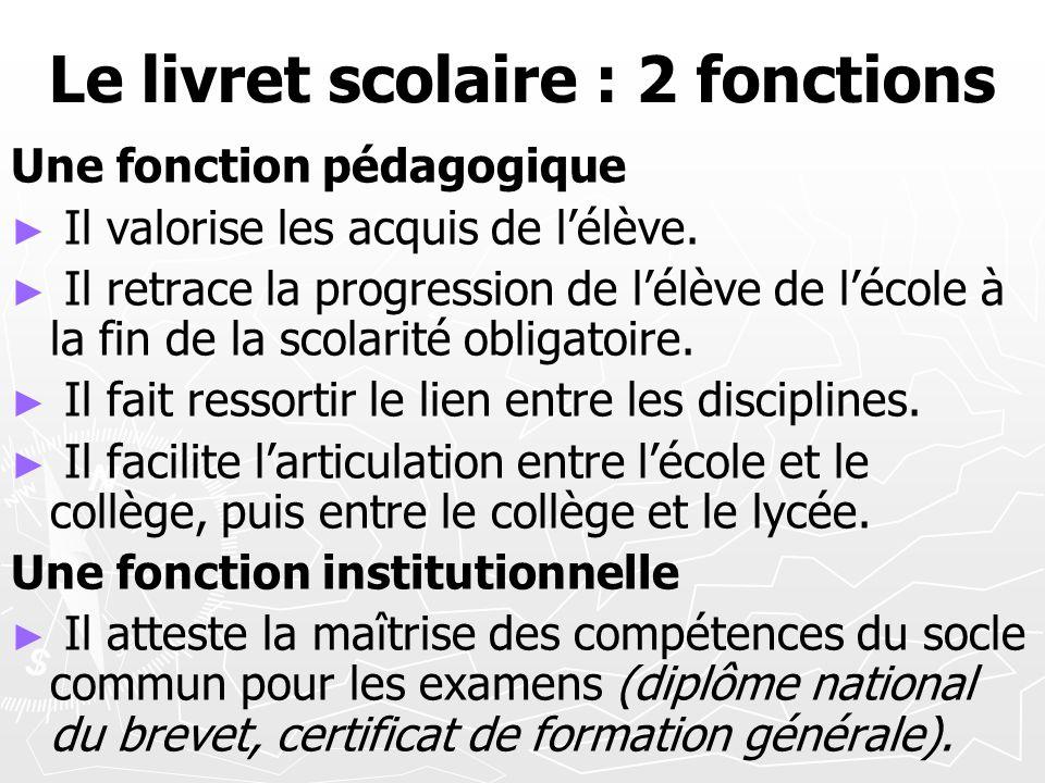 Le livret scolaire : 2 fonctions Une fonction pédagogique Il valorise les acquis de lélève. Il retrace la progression de lélève de lécole à la fin de