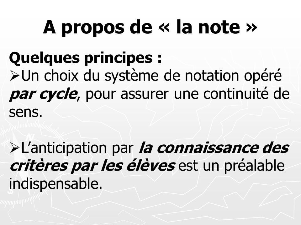 A propos de « la note » Quelques principes : Un choix du système de notation opéré par cycle, pour assurer une continuité de sens. Lanticipation par l
