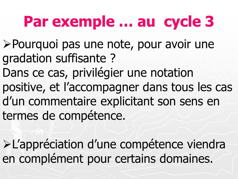 Par exemple … au cycle 3 Pourquoi pas une note, pour avoir une gradation suffisante ? Dans ce cas, privilégier une notation positive, et laccompagner