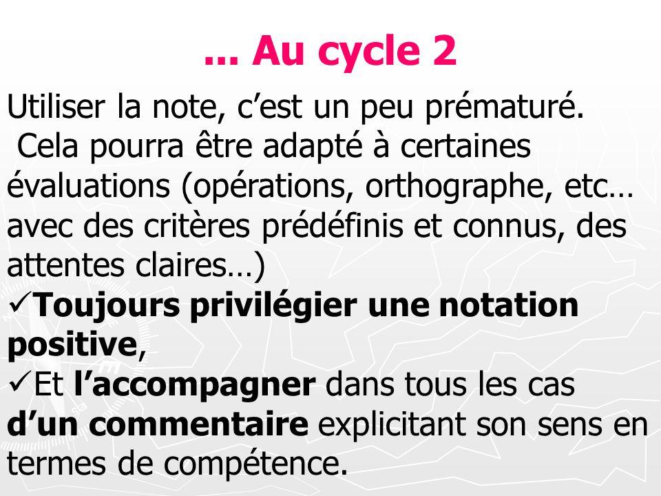 ... Au cycle 2 Utiliser la note, cest un peu prématuré. Cela pourra être adapté à certaines évaluations (opérations, orthographe, etc… avec des critèr
