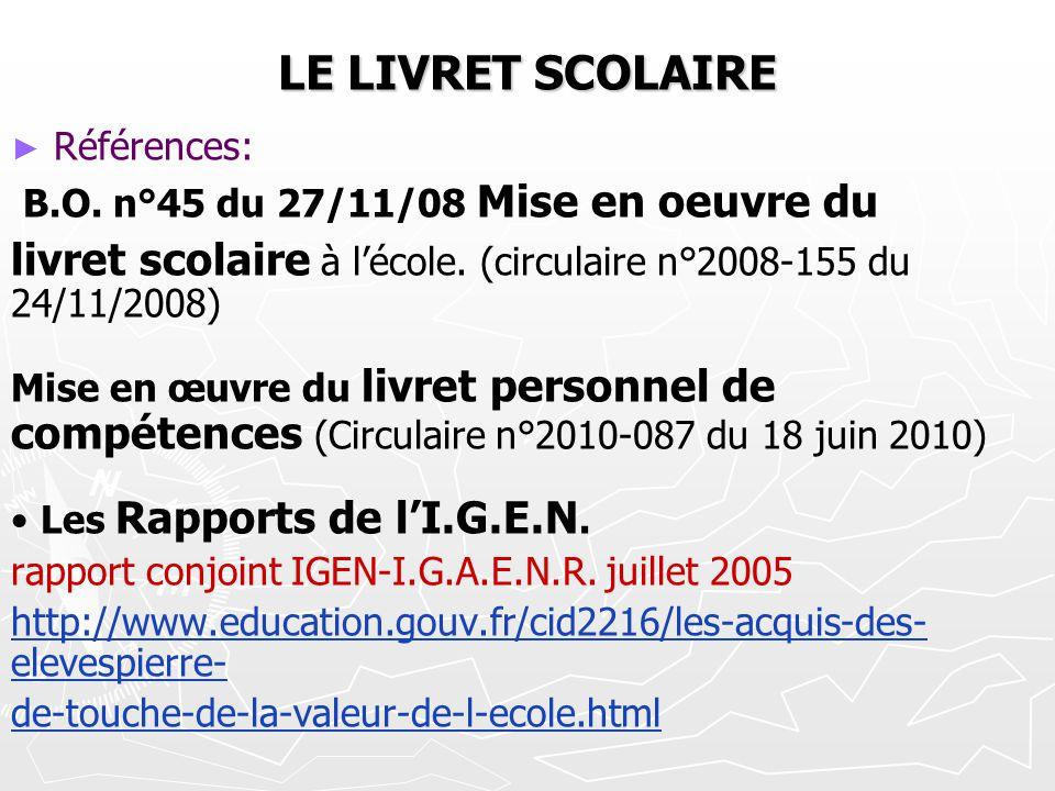 LE LIVRET SCOLAIRE Références: B.O. n°45 du 27/11/08 Mise en oeuvre du livret scolaire à lécole. (circulaire n°2008-155 du 24/11/2008) Mise en œuvre d
