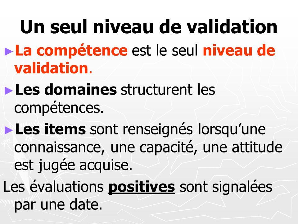 Un seul niveau de validation La compétence est le seul niveau de validation. Les domaines structurent les compétences. Les items sont renseignés lorsq