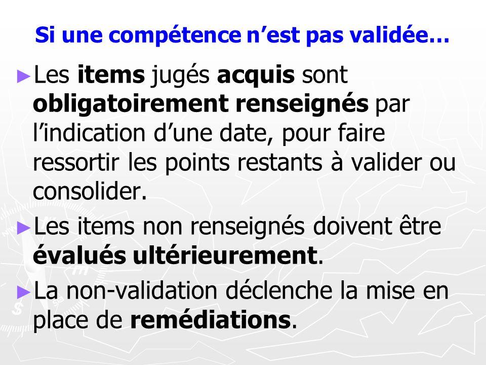 Si une compétence nest pas validée… Les items jugés acquis sont obligatoirement renseignés par lindication dune date, pour faire ressortir les points