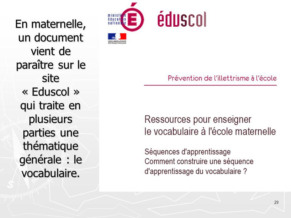 29 En maternelle, un document vient de paraître sur le site « Eduscol » qui traite en plusieurs parties une thématique générale : le vocabulaire.