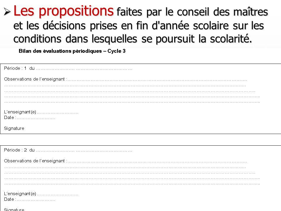 34 Les propositions faites par le conseil des maîtres et les décisions prises en fin d'année scolaire sur les conditions dans lesquelles se poursuit l