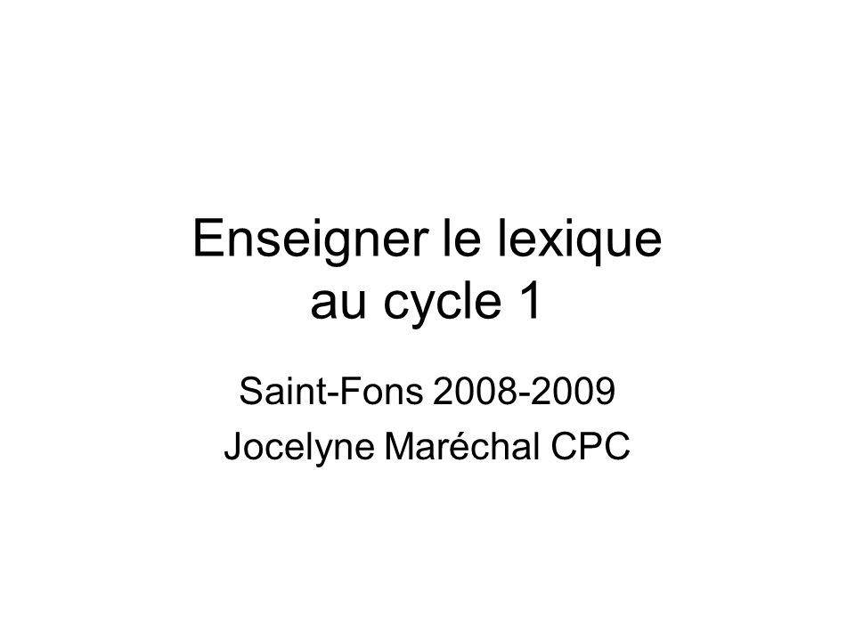 Enseigner le lexique au cycle 1 Saint-Fons 2008-2009 Jocelyne Maréchal CPC