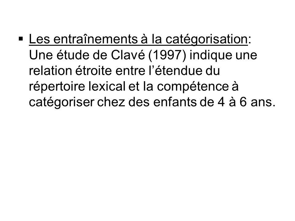 Les entraînements à la catégorisation: Une étude de Clavé (1997) indique une relation étroite entre létendue du répertoire lexical et la compétence à
