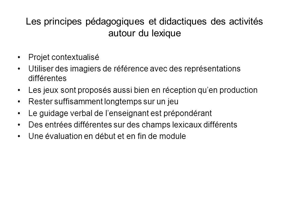Les principes pédagogiques et didactiques des activités autour du lexique Projet contextualisé Utiliser des imagiers de référence avec des représentat