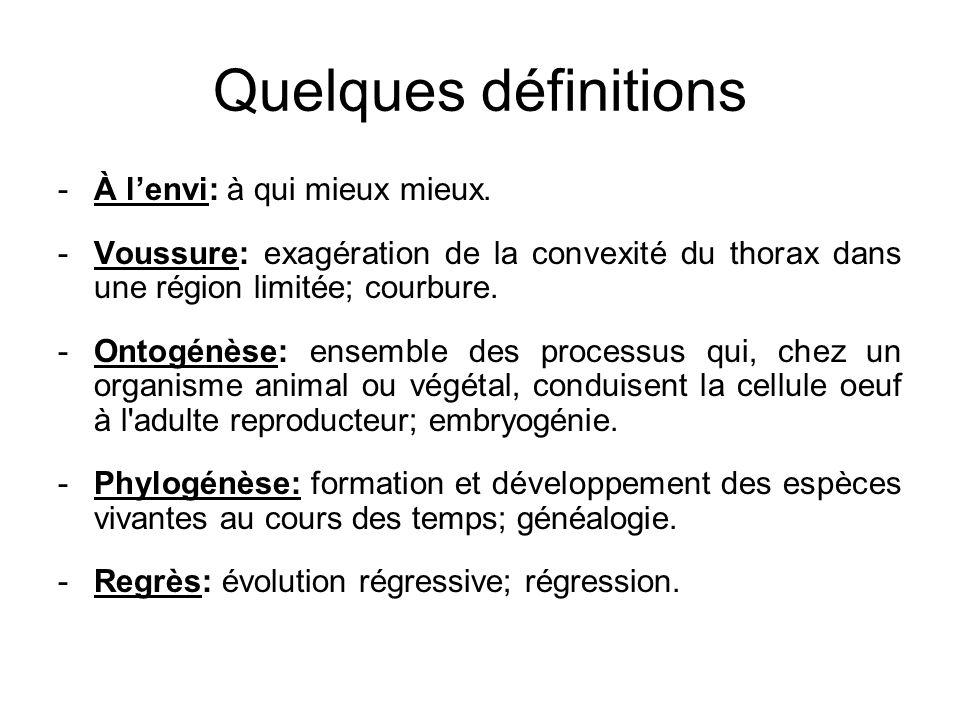 Quelques définitions -À lenvi: à qui mieux mieux. -Voussure: exagération de la convexité du thorax dans une région limitée; courbure. -Ontogénèse: ens
