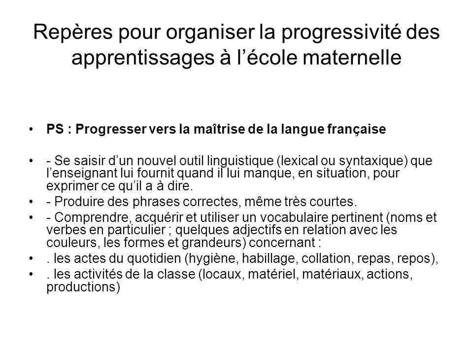 Repères pour organiser la progressivité des apprentissages à lécole maternelle PS : Progresser vers la maîtrise de la langue française - Se saisir dun